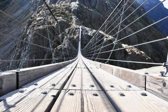 The Trift Bridge in Switzerland is 330 feet high.