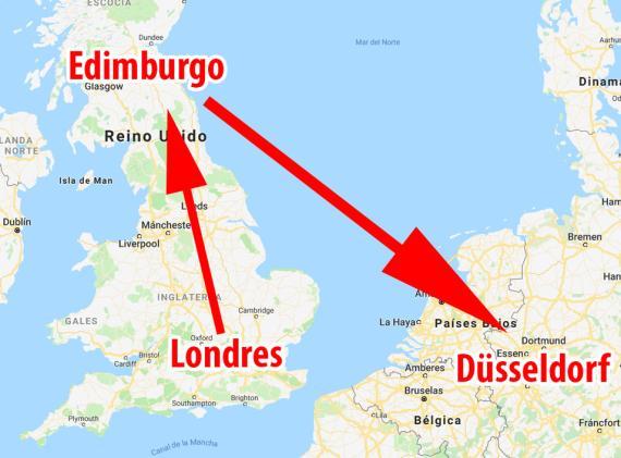 El vuelo que despegó de Londres debía aterrizar en Dusseldorf, pero en su lugar acabo pisando tierra en Edimburgo.