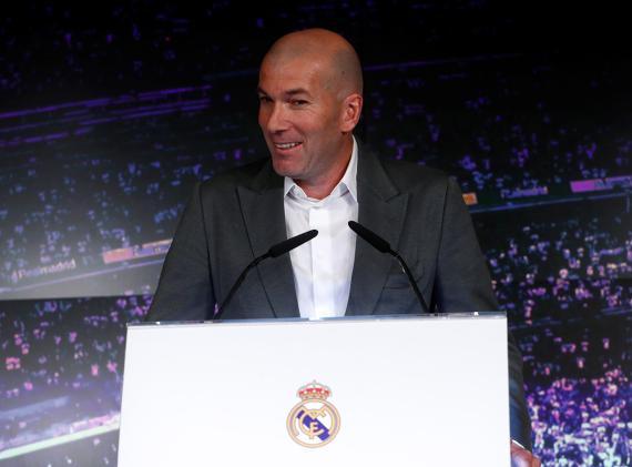Zinedine Zidane, presentado como entrenador del Real Madrid.
