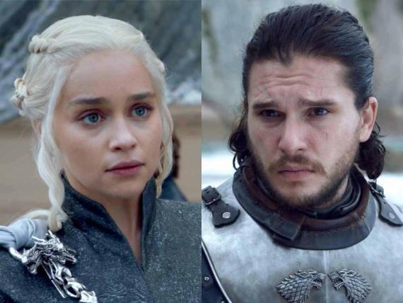 Emilia Clarke y Kit Harington como Daenerys Targaryen y Jon Nieve en 'Juego de Tronos'