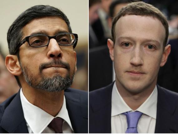 El CEO de Google, Sundar Pichai (izquierda) y el CEO de Facebook Mark Zuckerberg.