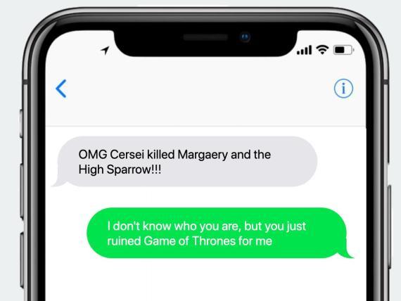 Un ejemplo del mensaje de texto de Spoiled.io.