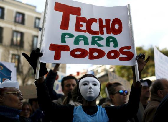 Una manifestación por el derecho a la vivienda celebrada en Madrid en 2015.