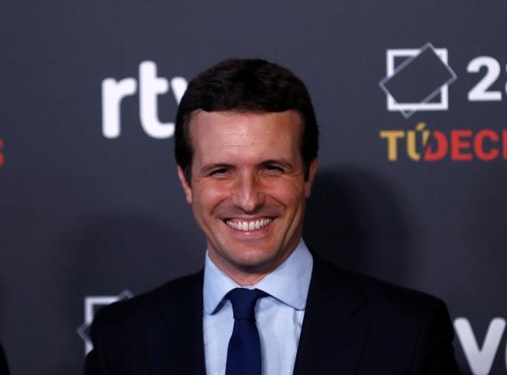 Pablo Casado, candidato del Partido Popular a la presidencia del Gobierno, llega a Prado del Rey para el debate de RTVE.