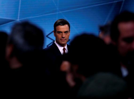 Pedro Sánchez, candidato del PSOE a la presidencia del Gobierno, en el debate de Atresmedia.