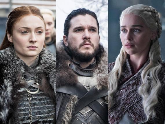 "Sansa Stark, Jon Snow, y Daenerys Targaryen en ""Juego de Tronos"" temporada 8."