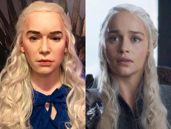 "On the left is a wax figure of Daenerys Targaryen. On the right is Emilia Clarke as the Mother of Dragons on ""Game of Thrones."""