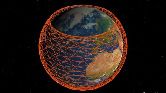 An illustration of Starlink, a fleet of internet-providing satellites that may one day surround the world.
