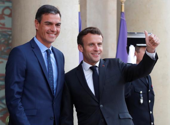 Pedro Sánchez, presidente del Gobierno de España, y Emmanuel Macron, presidente de la República Francesa.