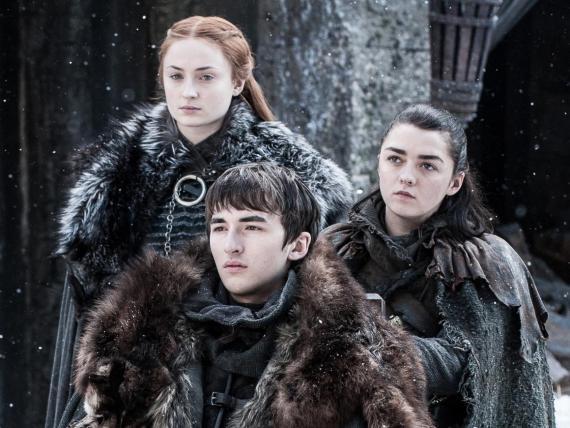 """Sansa, Bran, y Arya Stark en """"Juego de Tronos."""""""