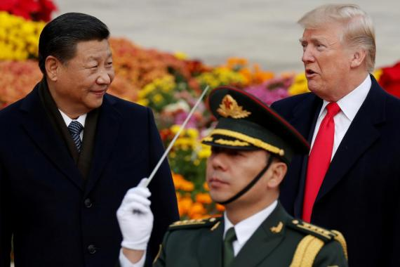 Chinese President Xi Jinping and US President Donald Trump at the Great Hall of the People in Beijing, China, in November 2017.