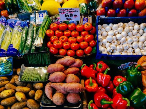 alimentos plástico, frutería, mercado, vegetales