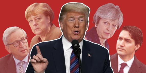 Donald Trump vs Juncker y Merkel
