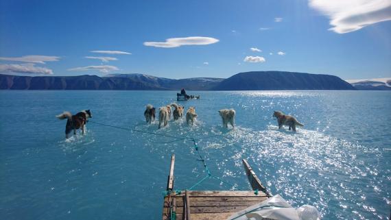 Un equipo del Instituto Meteorológico de Dinamarca viaja a través del hielo marino derretido.