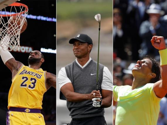Lebron James, Tiger Woods y Roger Federer.