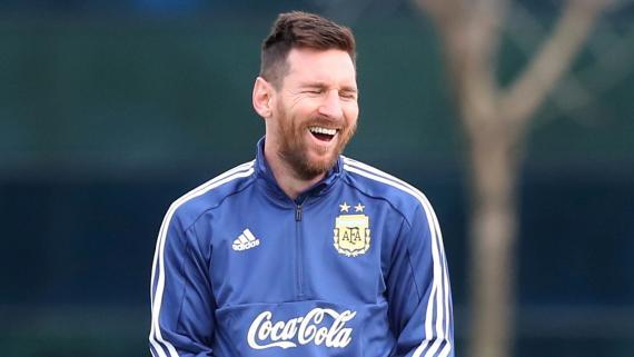 Messi, en un entrenamiento con la Selección argentina.