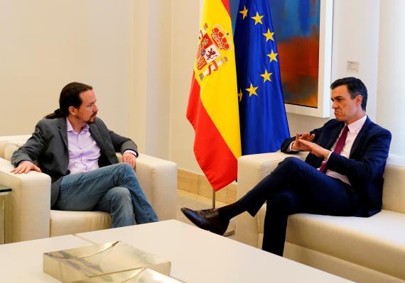 El líder de Unidas Podemos, Pablo Iglesias y el presidente del Gobierno en funciones, Pedro Sánchez.