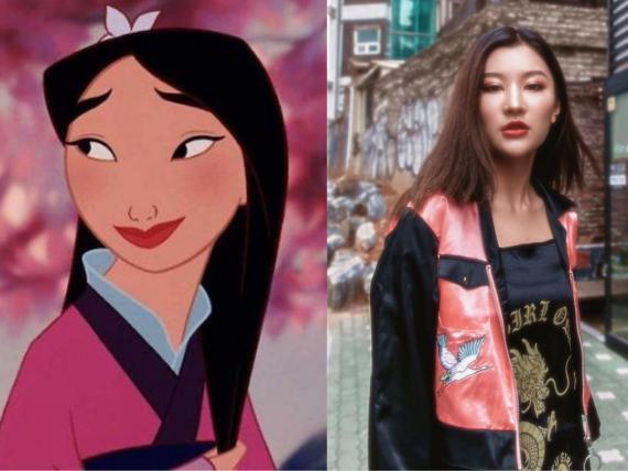 Izquierda: Mulan. Derecha: la modelo Serena Yuan. Maquillaje de Hayley Kassel.