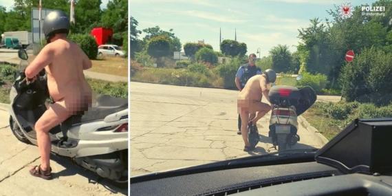 La policía de Brandenburgo compartió la imagen de un hombre desnudo en su ciclomotor