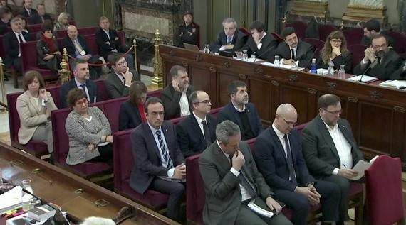 Los políticos presos por el 'procés' catalán durante el juicio en el Supremo.