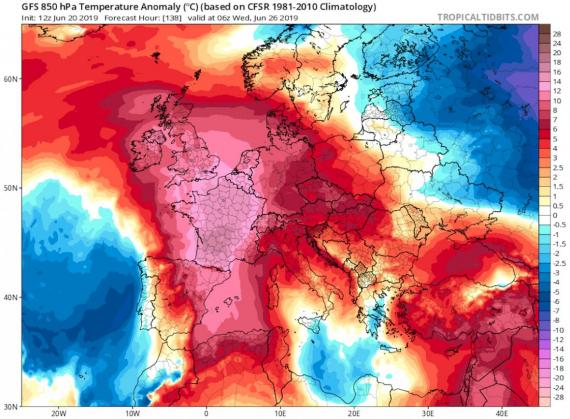 Las anomalías de temperatura en toda Europa a partir del 26 de junio de 2019.