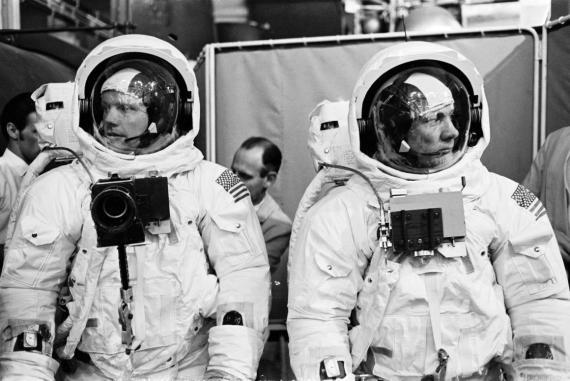Los astronautas del Apolo 11y Neil Armstrong  y Buzz Aldrin.