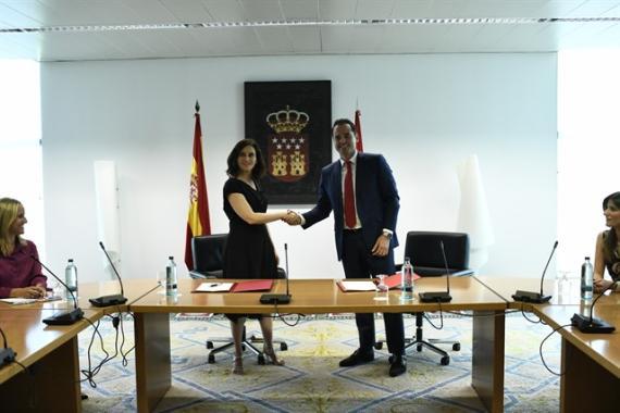 Los líderes del PP y Ciudadanos en Madrid, Isabel Díaz Ayuso e Ignacio Aguado, este lunes
