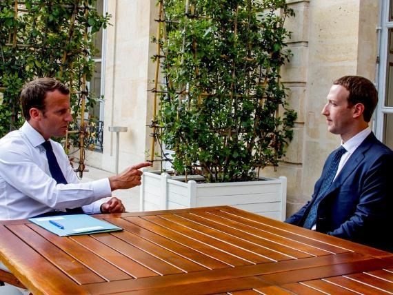 French President Emmanuel Macron and Mark Zuckerberg, the CEO of Facebook.
