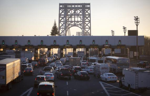 The George Washington Bridge toll booths are pictured in Fort Lee, New Jersey January 9, 2014.