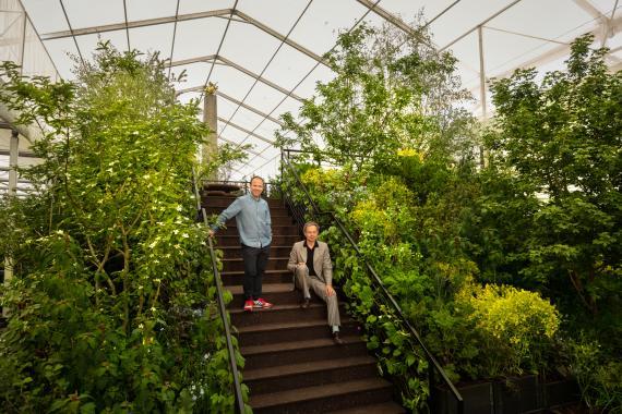 El diseñador Tom Dixon y el jefe creativo de Ikea, James Futhcer, en el jardín del primero expuesto en el Chelsea Flower Show 2019.