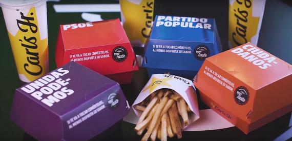 Una línea de hamburguesas asociadas a cada partido político