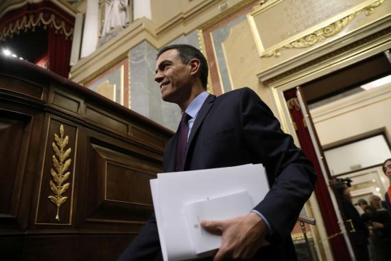 El presidente del Gobierno en funciones, Pedro Sánchez, en el Congreso de los Diputados.
