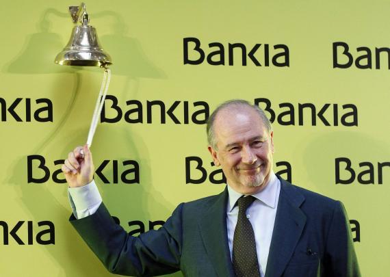 Rodrigo Rato toca la campana de salida a bolsa de Bankia.