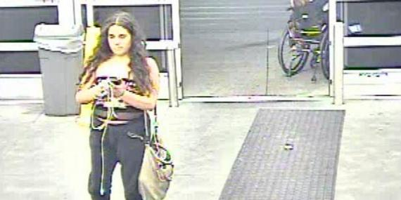 Security tape of a woman, Grace Brown, released by Walmart, who has been now been charged with criminal mischief.