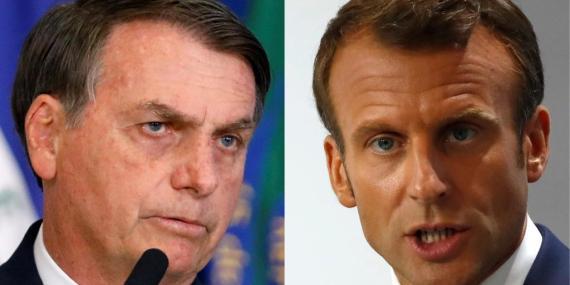 Un montaje con el presidente brasileño Jair Bolsonaro y el presidente francés, Emmanuel Macron.