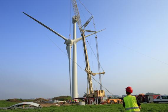 Construcción molino viento