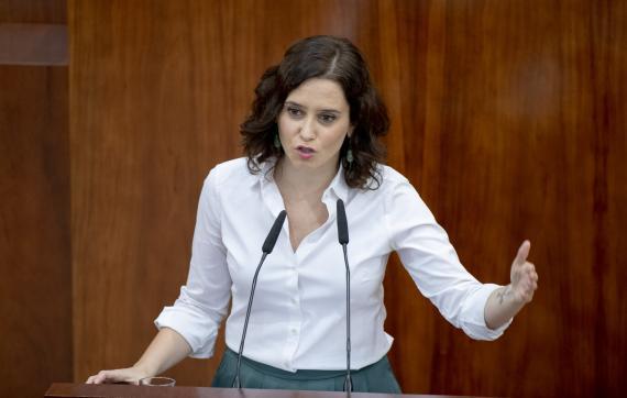 Isabel Díaz Ayuso, durante su investidura como presidenta de la Comunidad de Madrid.