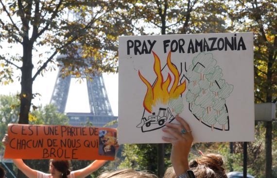 Manifestación en París por el incendio del Amazonas.