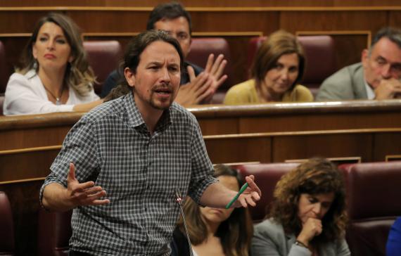 El líder de Unidas Podemos, Pablo Iglesias, en el Congreso de los Diputados.