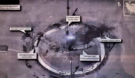 President Trump tweeted out a high-resolution image of the launch pad where one of Iran's rockets blew up.