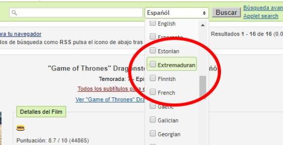 OpenSubtitles da la posibilidad de buscar subtítulos en extremeño.