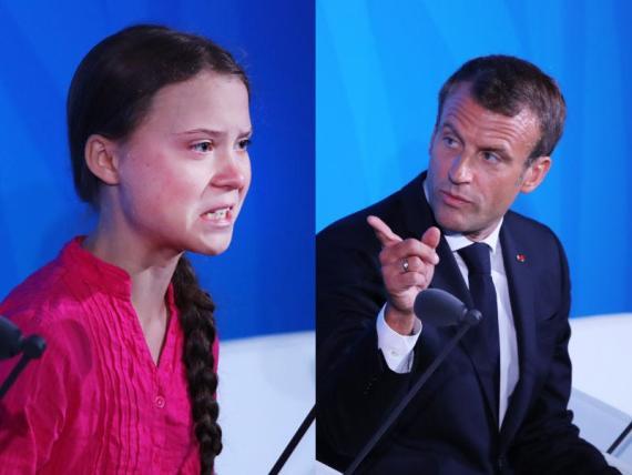 La activista ecologista Greta Thunberg y el presidente francés Emmanuel Macron