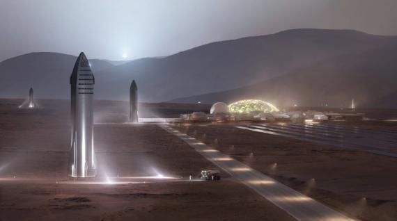 Ilustración de una colonia en Marte.