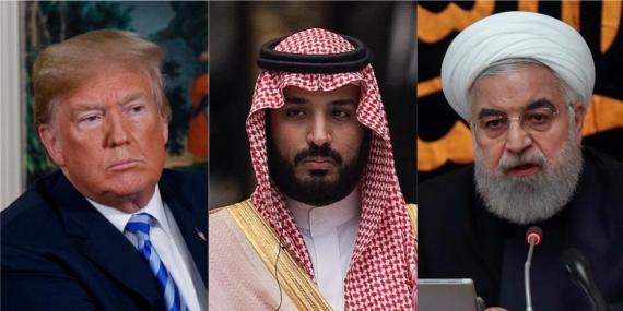 El presidente de EE.UU., Donald Trump, el príncipe saudí Mohammed bin Salman y el presidente de Irán, Hassan Rouhani