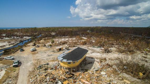 A Deltec home remains standing in Mexico Beach, Florida, after Hurricane Michael.