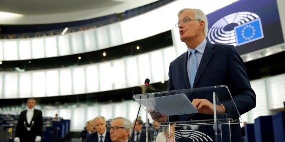 European Union's chief Brexit negotiator Michel Barnier addresses the plenary of the European Parliament on Britain's withdrawal from the European Union during a debate on Brexit at the European Parliament in Strasbourg, France, September 18, 2019.