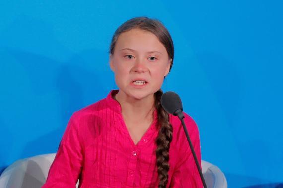 Greta Thunberg, durante su discurso en la sede de Naciones Unidas.