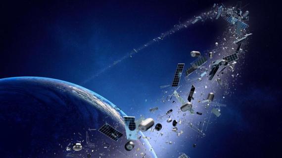 """Un grueso anillo de basura espacial orbita alrededor de la Tierra en este imaginativo concepto artístico del """"síndrome de Kessler""""."""