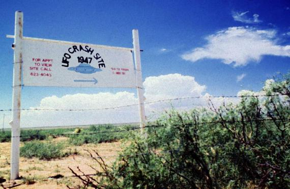 A sign north of Roswell, New Mexico, points west to the 1947 crash site.