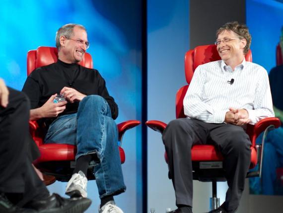 Steve Jobs y Bill Gates en 2007.